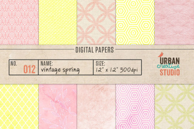 Vintage Spring Digital Papers