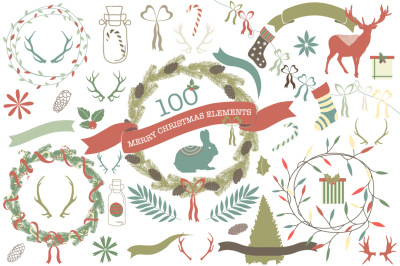100 Merry Christmas Elements