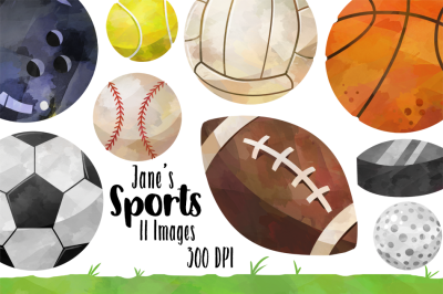 Watercolor Sports Balls Clipart