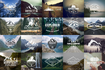 52 Camping Logos + 20 Icons.Bundle