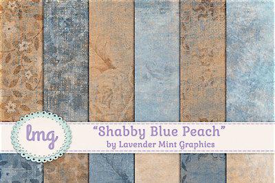 Blue Peach Shabby Digital Papers