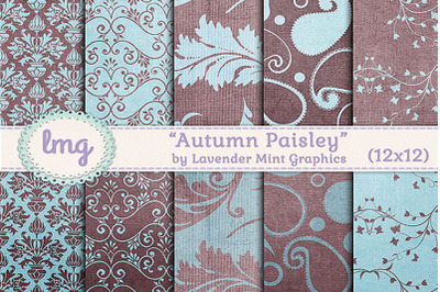Blue and Teal Autumn Paisley Digital Scrapbook Paper