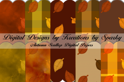 Autumn Decorative Scallop Digital Paper