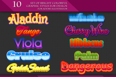 Set of Bright Colorful Graphic Styles for Design.