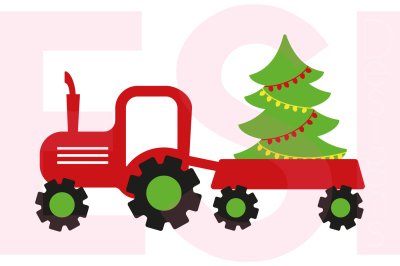 Tractor & Christmas Tree Design - SVG, DXF, EPS cutting files