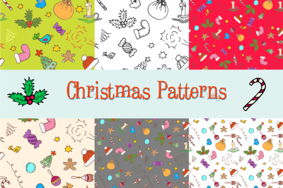 Hand drawn Xmas seamless patterns