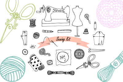 Hand drawn Sewing set illustrations