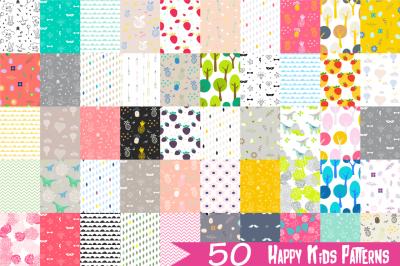 """Happy Kids"" 50 Seamless Patterns"