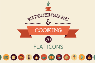 Cooking & Baking 70 flat icons