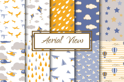 Blue and Yellow Aerial View Patterns