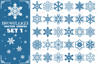 Decorative Snowflakes Vector Shapes Set 1