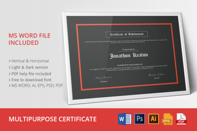 Multipurpose Certificate 01