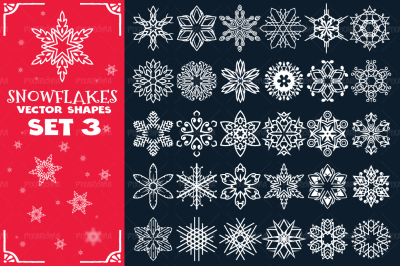 Decorative Snowflakes Vector Shapes Set 3
