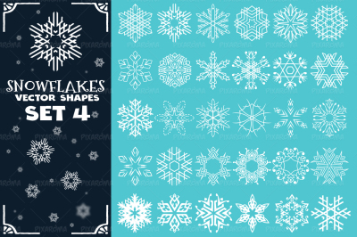 Decorative Snowflakes Vector Shapes Set 4
