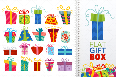 Flat Vector Gift Box Icon Set