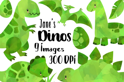 Watercolor Green Dinosaurs Clipart