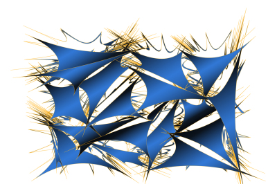 an abstract pattern of geometric shapes with a gold outline