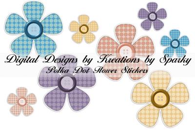 Polka Dot Flower Digital Stickers