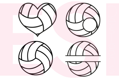 Volleyball Designs and Monograms - SVG, DXF, EPS cutting files.
