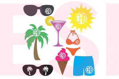 Summer Monogram Designs Set - SVG, DXF, EPS cutting files.
