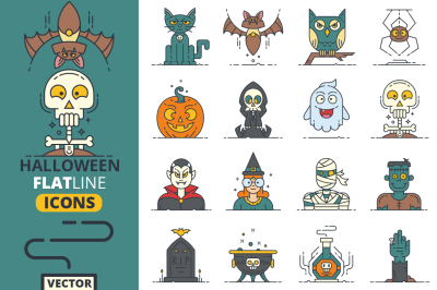 Halloween Flat Line Icons Vol.1