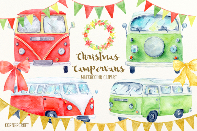 Watercolor Christmas Campervan