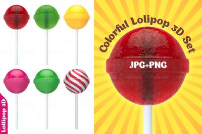 Colorful Lollipop 3D Set