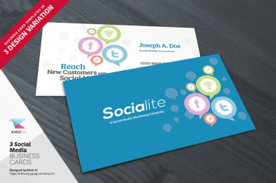 3 Social Media Business Card Templates