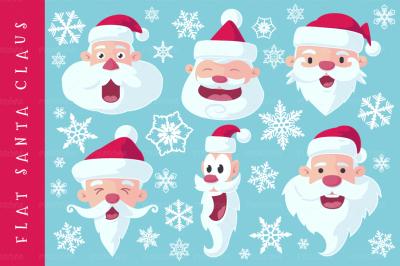 Flat Santa Claus Heads