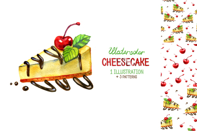 Watercolor cheesecake illustrations