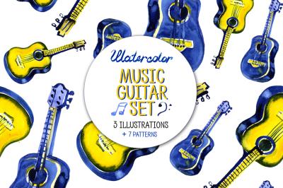 Watercolor guitar music set