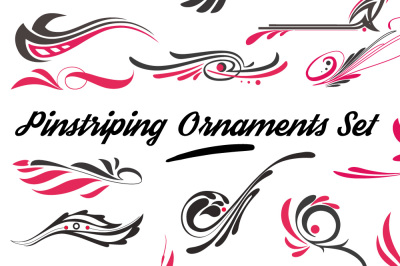 set of  various curly pinstriping graphic ornaments