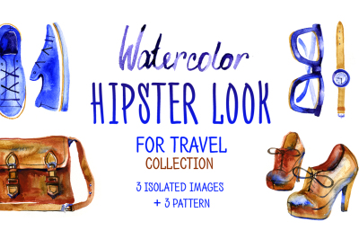 Watercolor hipster look for travel