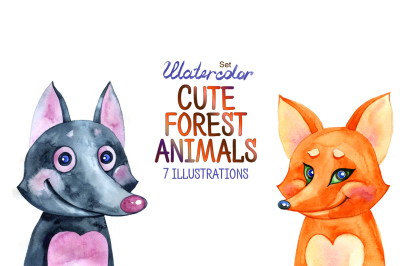Watercolor cute forest animals