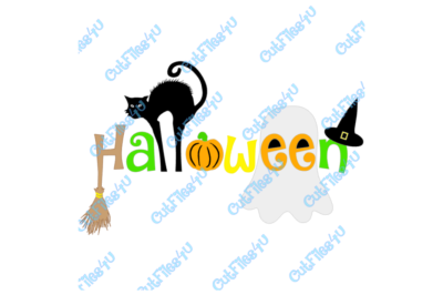 Halloween Black Cat Ghost Pumpkin Witch Hat Witch Broom design: SVG & Silhouette Studio 3 cut files using Cameo, Cricut for vinyl, HTV, sign