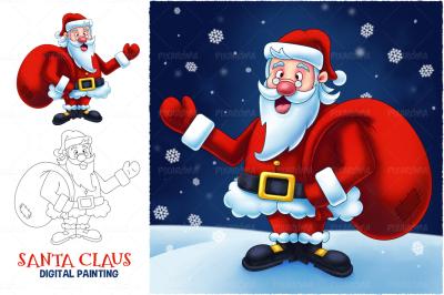 Santa Claus Cartoon Digital Painting