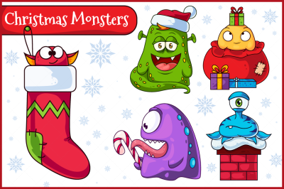 Christmas Vector Monsters Set 1
