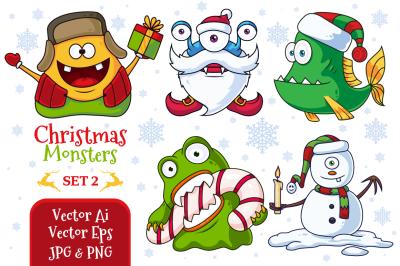 Christmas Vector Monsters Set 2