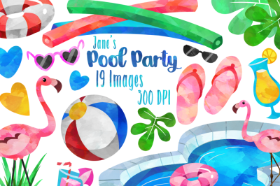 Watercolor Pool Party Clipart