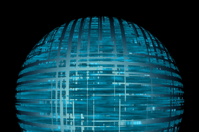 abstract image of blue surround a glowing Orb on a black background, JPEG 300 dpi