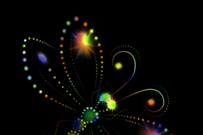The image of a bright glowing butterflies on a black background, JPEG 300 dpi