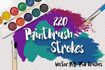 220 PaintBrush Strokes - Vector, PNG, PSD Brushes