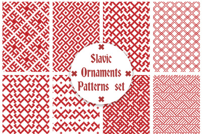 Slavic ornaments seamless patterns vector set