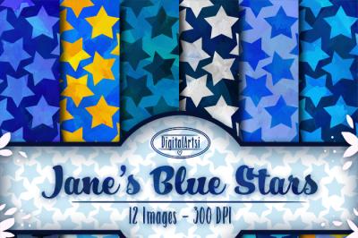 Watercolor Blue Stars Digital Paper