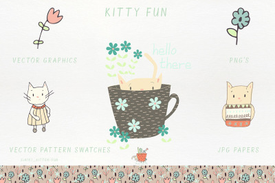 Kitty Fun Vector Swatches Patterns