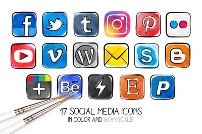 PNG - Watercolor social media icons