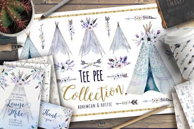 Watercolor bohemian teepee & pattern