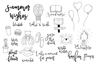 Summer wishes. Set of cute doodles.
