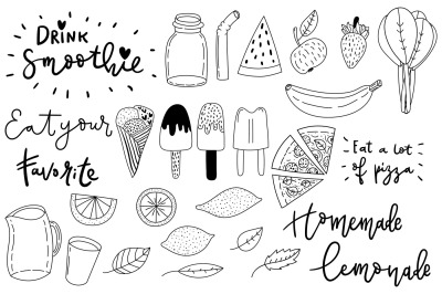 Summer treats. Set of cute doodles.