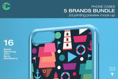 5 Brands Bundle-Phone Cases Mock-up